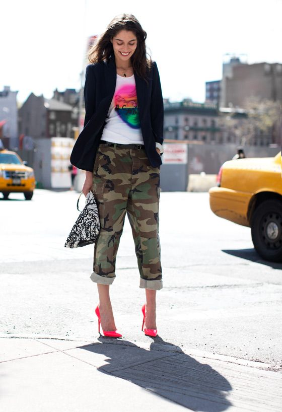 An updated version of my eighth-grade dream outfit, which involved a graphic tee, camo pants and hot pink. Fun while still pulled-together - the blazer and signature Louboutin Pigalles help out immensely. Courtesy of Garance Doré.