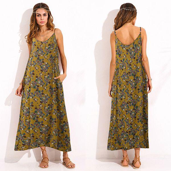 Gracila Bohemian Women Spaghetti Strap Floral Printed Loose Maxi Dresses