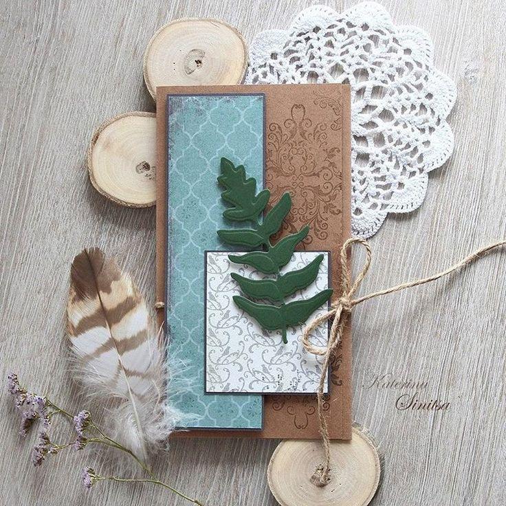 Открытка-конверт с листом папоротника (вайя). The greeting envelope adds a fern leaf. Spellbinders dies #sinitsa_art