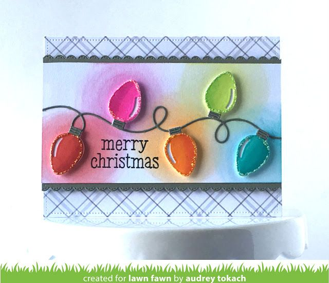 the Lawn Fawn blog: Lawn Fawn Intro: String of Lights Christmas Card by Audrey Tokach.