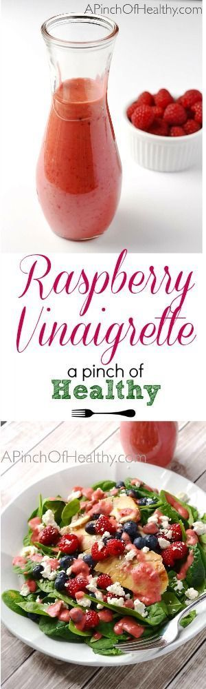 Raspberry Vinaigrette Dressing - 4 ingredients, vegan and gluten free| APinchOfHealthy.com #recipes #easy #salad
