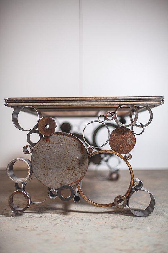 steel and wood reclaimed coffee table von PecanWorkshop auf Etsy