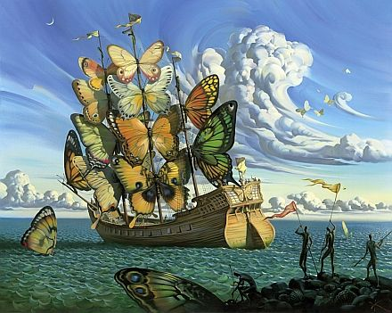 Departure of the Winged Ship - Vladimir Kush (SO badly want this as a tattoo!)