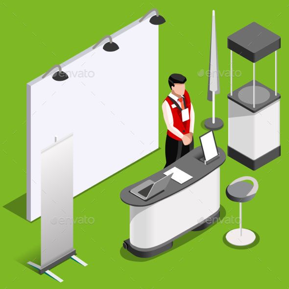 Exhibition Booth Icon : Exhibition booth d stand people isometric exibition