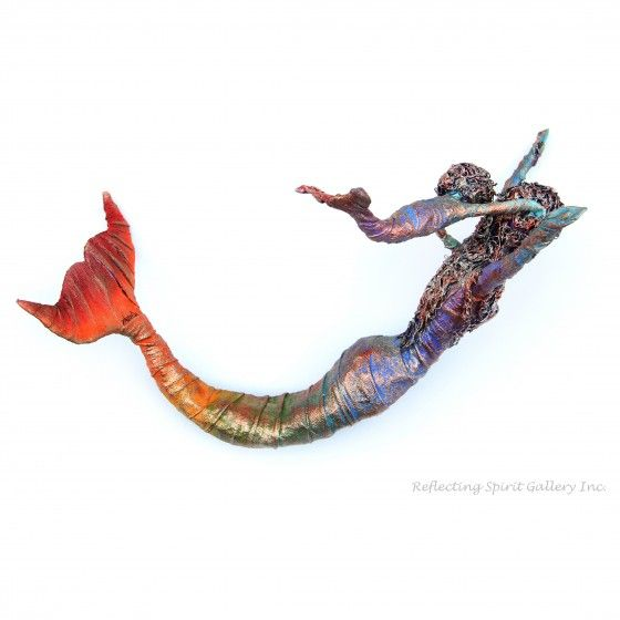 """My Shadow"" a mixed media mermaid sculpture by Kris Walker.  Available @ http://www.reflectingspirit.ca/gallery/product/my-shadow"