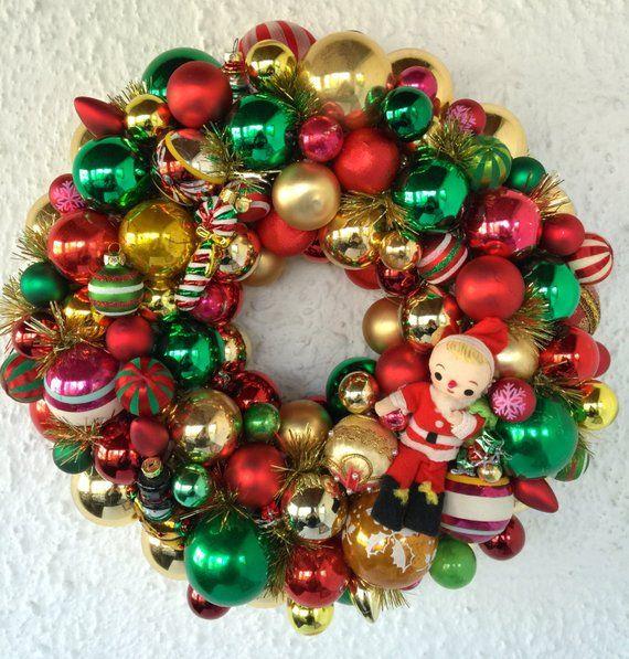 Holiday Sale Vintage And Re Purposed Handmade Christmas Ornament Wreath Christmas Ornament Wreath Ornament Wreath Handmade Christmas