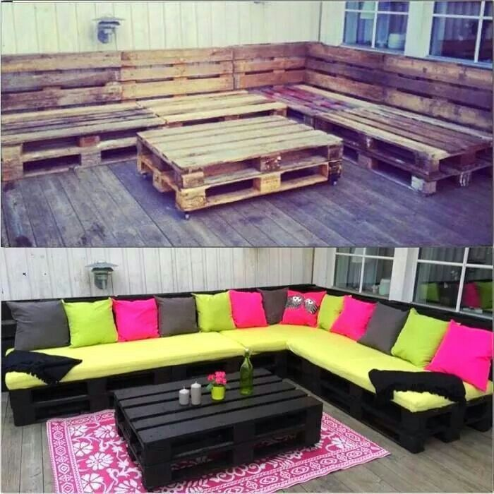 Easy and recycled outdoor furniture. Wood pallets, wood stain, paint, and decorate! :)
