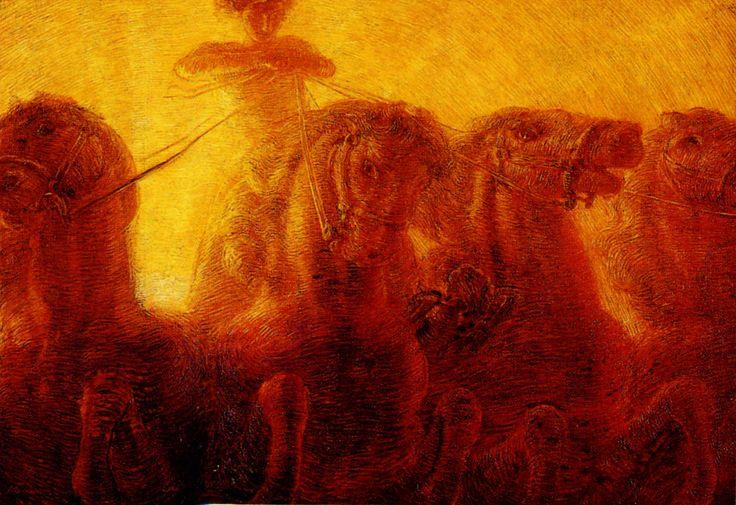 [Gaetano Previati] Il carro del sole, 1907 Affidandosi al gesto Previati evoca le forme o per contrasto le descrive nei minimi particolari, come nel caso dell'apice del giogo in primo piano, punto focale del pannello dal taglio prospettico rialzato. Il carro di Apollo ovvero di Zeus e del Sole indica nella mitologia classica il cammino dell'astro sulla volta celeste e dunque la forza incontrastata della luce e assume in questo contesto la forza di un manifesto di programma, esercitazione…
