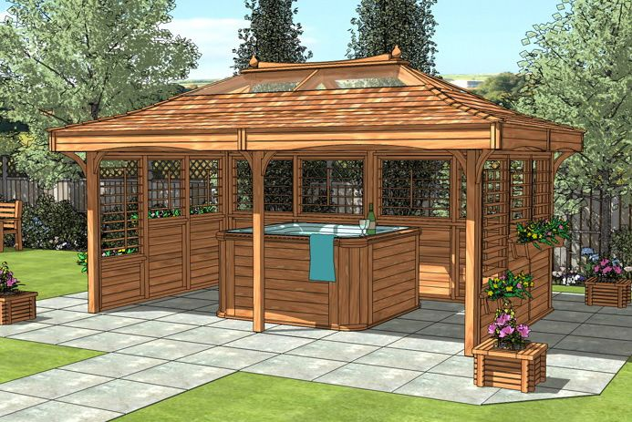 25 best ideas about large gazebo on pinterest decks for Diy hot tub gazebo