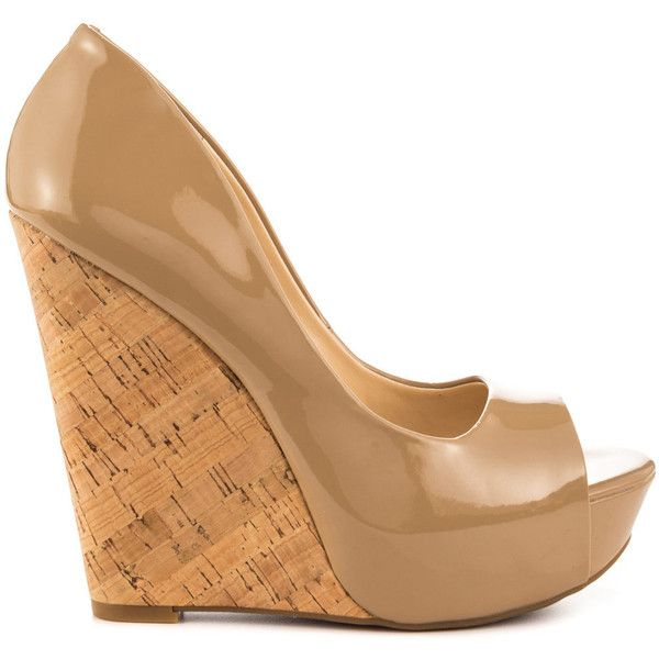 Jessica Simpson Women's Bethani - Nude Patent ($81) ❤ liked on Polyvore featuring shoes, pumps, beige, wedge pumps, beige peep toe pumps, nude pumps, nude shoes and nude patent leather pumps