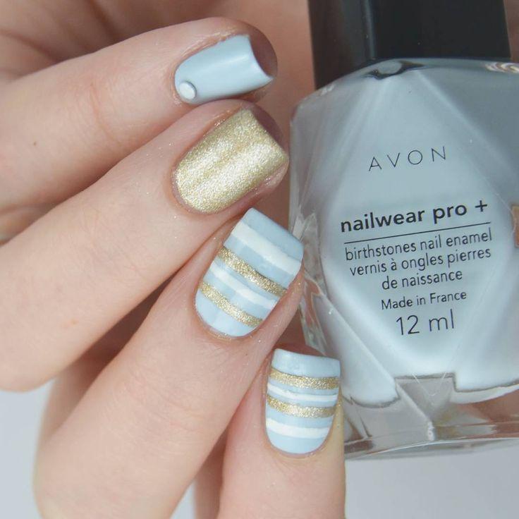 Avon birthstone - aquamarine ⚓  #avonfinland #avoncosmetics #nailpolish #nails #nailtape #kynsikoristelut #sailornails #babybluenails #opinails #aquamarine