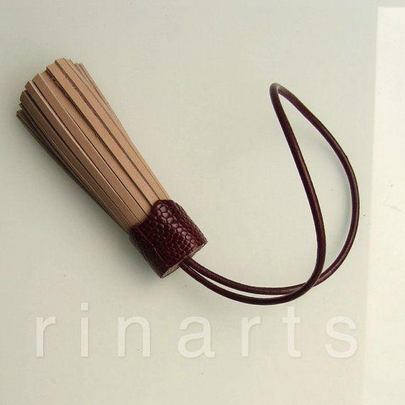 Leather tassel / leather tassel bagcharm by RinartsAtelier