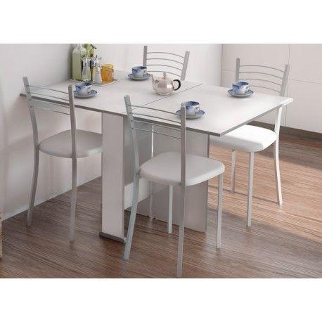 Conjunto de mesa y sillas blancas para cocina estilo for Sillas blancas tapizadas