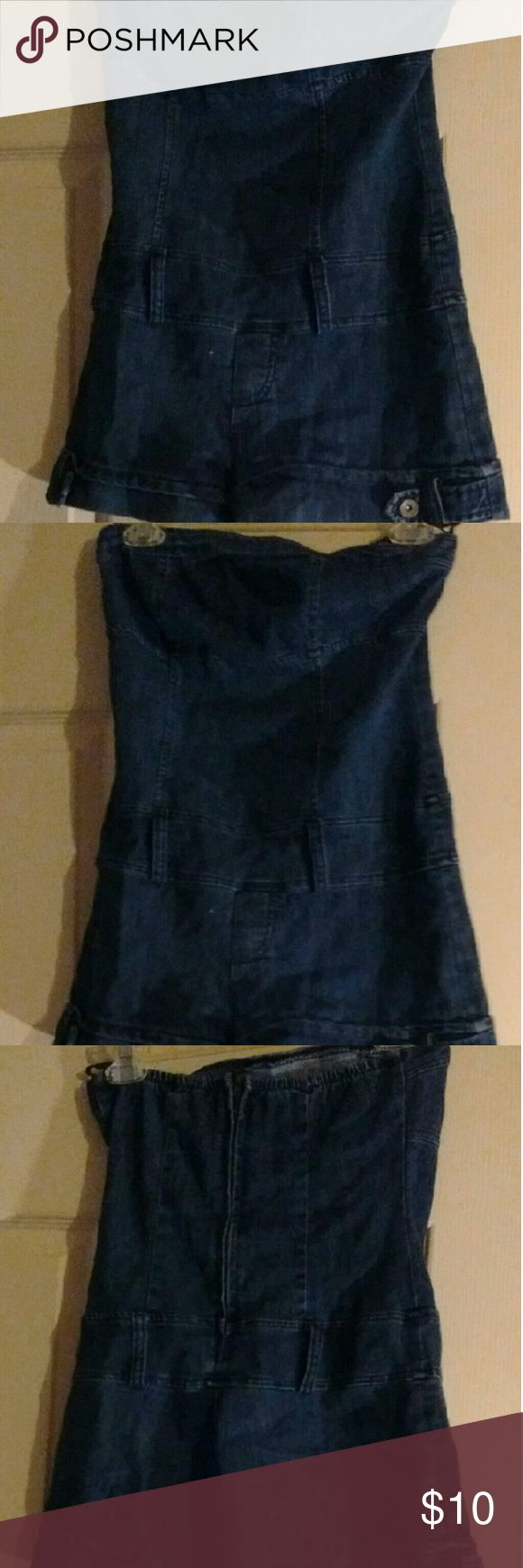 Cute blue jean romper Strapless blue jean romper. Worn a couple of times and it's in good condition. It has belt loops so u can wear a belt if you want too. Hot Kiss Pants Jumpsuits & Rompers