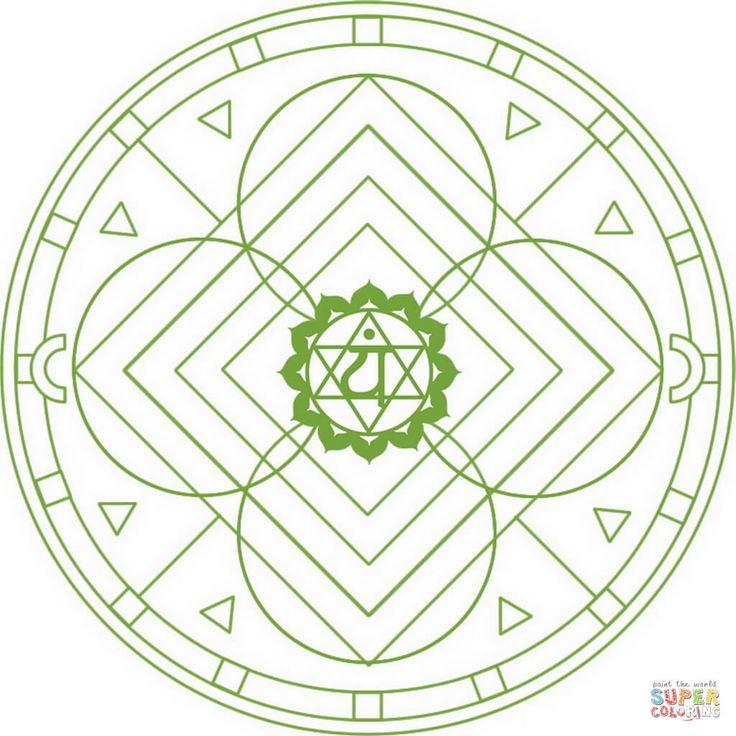 Mandala de Chakra Anahata | Super Coloring