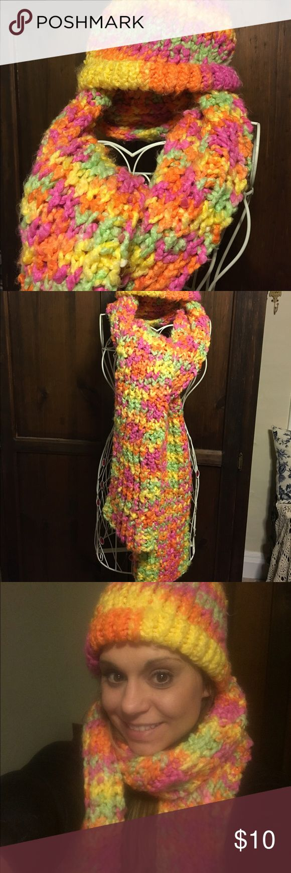 Hand knitted Bright colored scarf set Bright multi colored scarf & hat set. Hand knitted, super soft & cozy. Bright pink, yellow, orange & green throughout. Accessories Scarves & Wraps