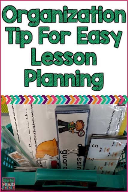 Organizing for easier lesson planning. This system makes it easier to gather all of the materials, lesson plan and puts everything in one spot to make putting it all away easier. Ideal for elementary teachers, special education teachers and therapists.