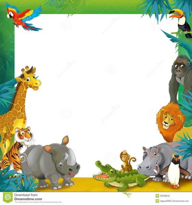 Cartoon Safari - Jungle - Frame Border Template - Illustration For The ...
