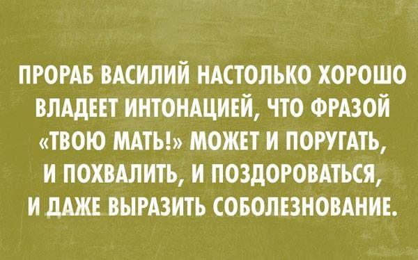 Великий и могучий русский язык... Наш дворник дядя Вася использует в своей речи только три буквы - и все его понимают...