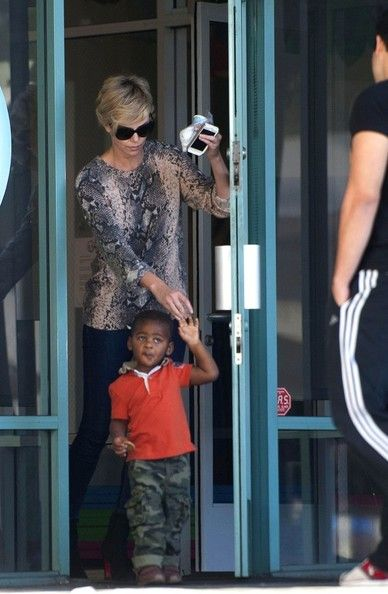 Charlize Theron leaves a children's gym with her son Jackson Theron.