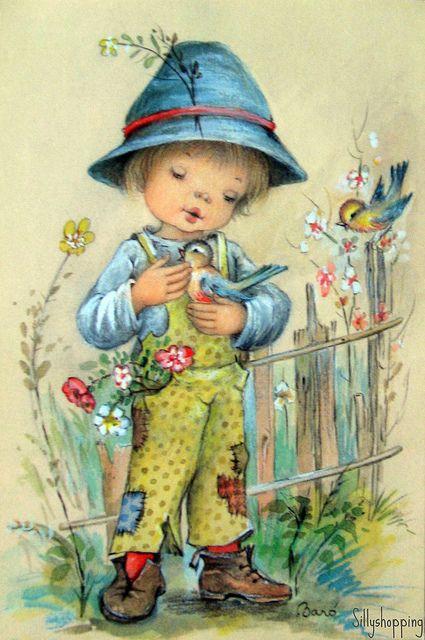 Vintage Big Eyed Boy Postcard