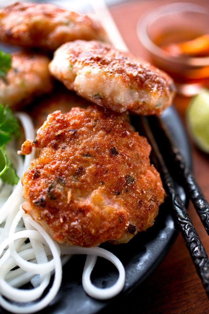 Vietnamese Style Shrimp Cakes over Rice Noodles ; seafood ; cilantro ; lemongrass ; fish sauce ; Asian
