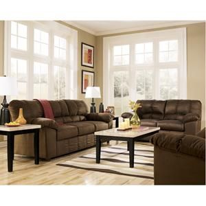 Nebraska Furniture Mart Ashley Brown Microfiber Sofa Loveseat And Rocker Recliner Living Room