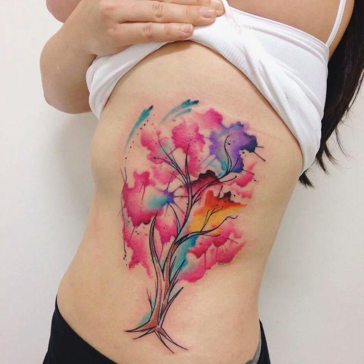 Watercolor tattoo tree