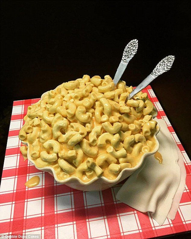 This convincing bowl of macaroni cheese made by Debbie Goard is in fact a sweet treat...