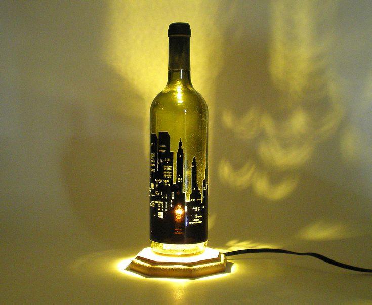 Industrial lamp-lamp office-industrial lamp New York-bottle lamp-rustic lamp -desk lamp-bottle lamp -industrial lighting-Home & Living-decor by BottlesAndOthers on Etsy