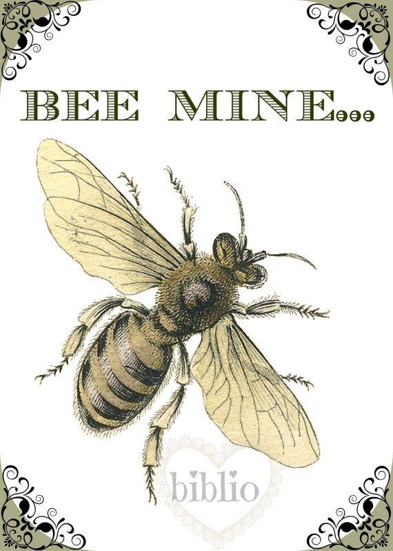 BEE MINE digital love card by bibliopaperartstudio on Etsy