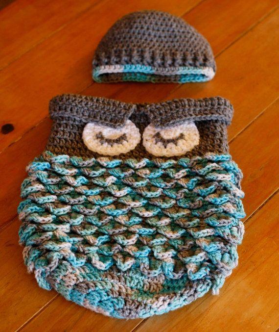 Baby uil Cocoon en hoed. Baby foto Prop. door bohemianbowmans