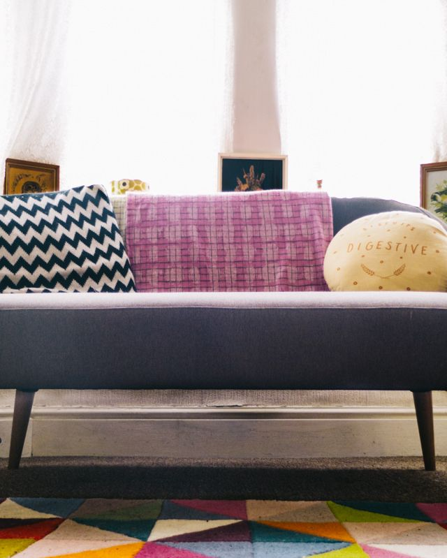 the habitat momo sofa - grey, compact and with a retro feel