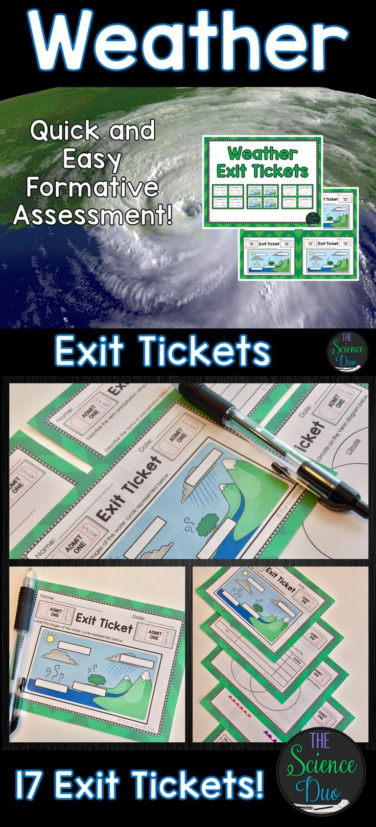 Weather Exit Tickets (Exit Slips) are the perfect formative assessment activity for your students. They are quick, easy to use, and data driven. This resource contains 17 different exit ticket activities (4 per page) covering a large variety of Weather concepts.