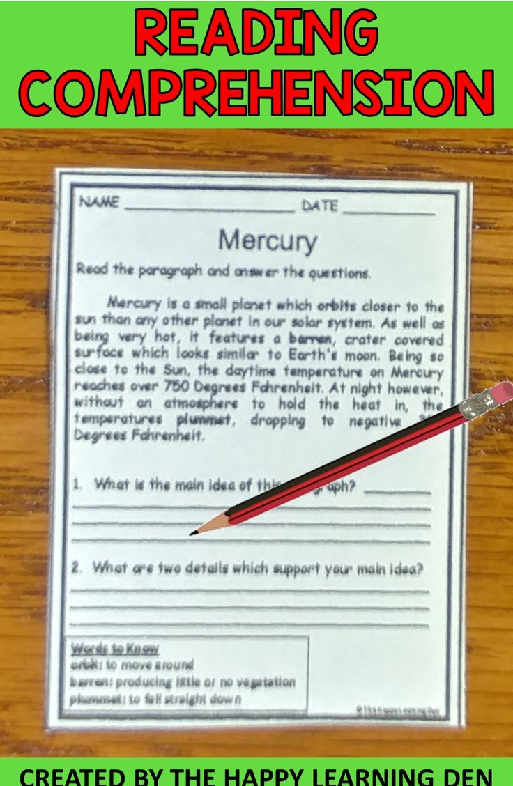 - Mercury Reading Comprehension Passages And Vocabulary Reading