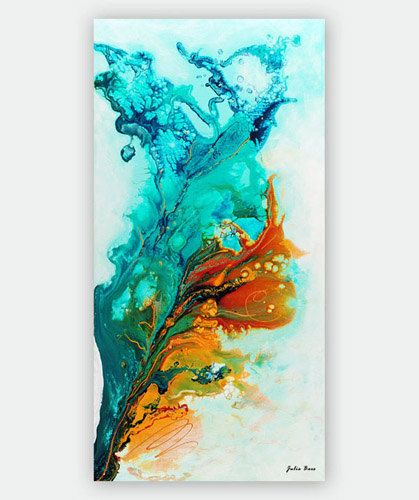 Turquoise Abstract Art Print, Giclee Print on Canvas, Turquoise and Orange Painting, Teal Wall Art Fluid Colorful Print of Original Painting