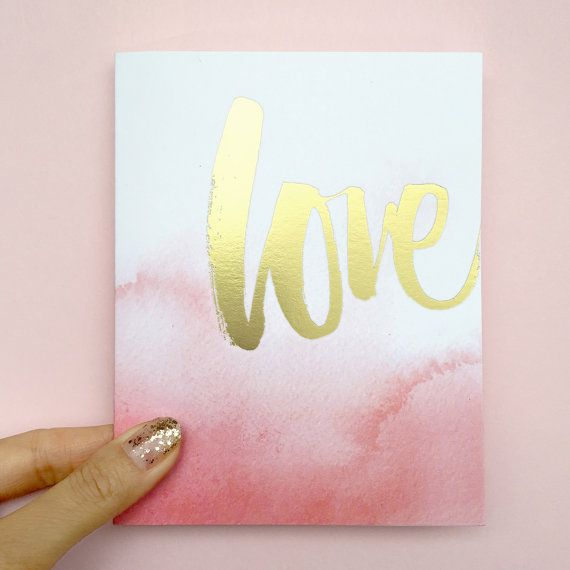 "Gold Foil / Watercolor Ombre A2 ""Love"" Folded Card by Julie Song Ink, available as a single or box of 8: https://www.etsy.com/listing/220307901/single-gold-foil-love-watercolor-ombre?ref=shop_home_active_2"