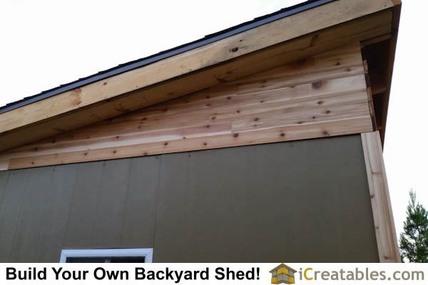 modern studio shed soffit  and siding detail