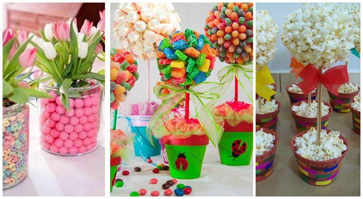 A partir de diferentes tipos de dulces o snacks podemos elaborar centros de mesa de lo más original.