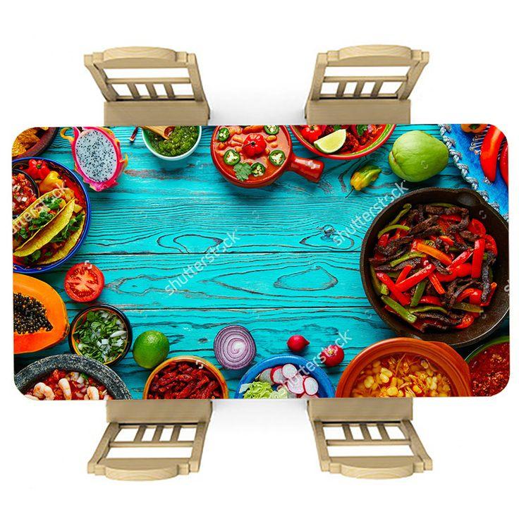 Tafelsticker Mexicaans feest | Maak je tafel persoonlijk met een fraaie sticker. De stickers zijn zowel mat als glanzend verkrijgbaar. Geschikt voor binnen EN buiten! #tafel #sticker #tafelsticker #uniek #persoonlijk #interieur #huisdecoratie #diy #persoonlijk #mexicaans #feest #eten #avondeten #diner #mexico #blauw #hout #voedsel #keuken