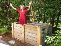 This two-bin composting system can be built by one person in about five hours. The bin holds one ton of properly moistened yard waste. It's rodent proof and has removable front doors to reduce the work of turning the compost. You'll never have to buy organic matter for your garden again!