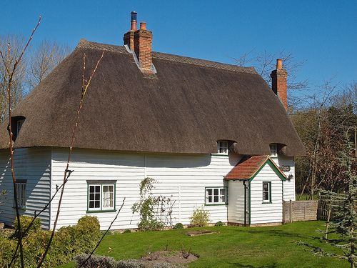 A 17th century thatched and weatherboarded cottage in Leckford, Hampshire