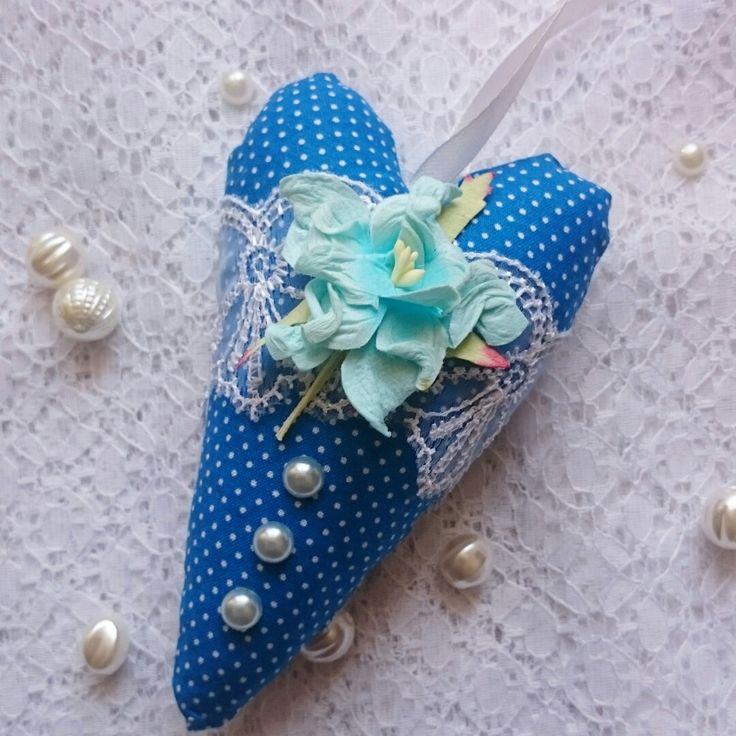 Сердце текстильное в синем цвете