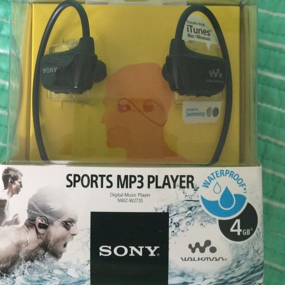 Sony waterproof cordless headphone MP3 player NIB Sony sports MP3 player 4GB digital music player never used! Perfect for any activity or active lifestyle! Sony Accessories