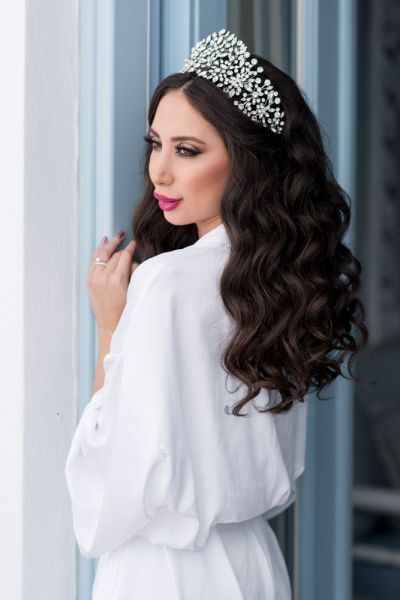 Bridal hair & make up  from Luxurious Lebanese wedding at Santorini Gem in ivory and rose gold Click to enlarge image