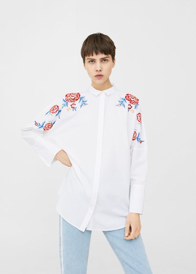Flowers embroidered shirt