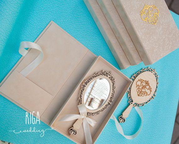 Conjunto de 50 invitaciones de la boda del espejo por RigaWedding
