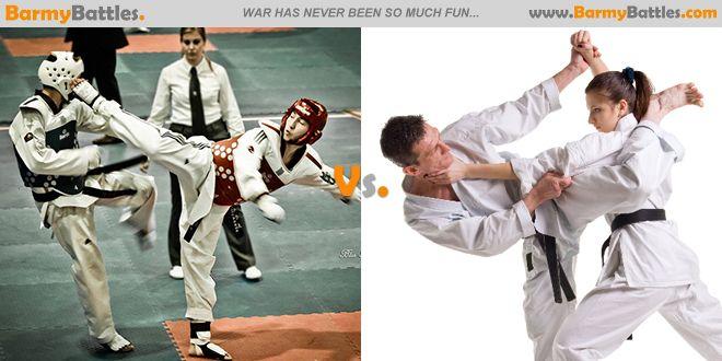 Taekwondo vs Karate. Which of this two well-known styles karate and taekwondo have the best art styles? #taekwondo #karate #martialartist #dojo #battle CLICK HERE TO VOTE: http://www.barmybattles.com/2014/03/29/taekwondo-vs-karate/