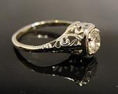 18 Karat White Gold Filigree 1920s Engagement Ring