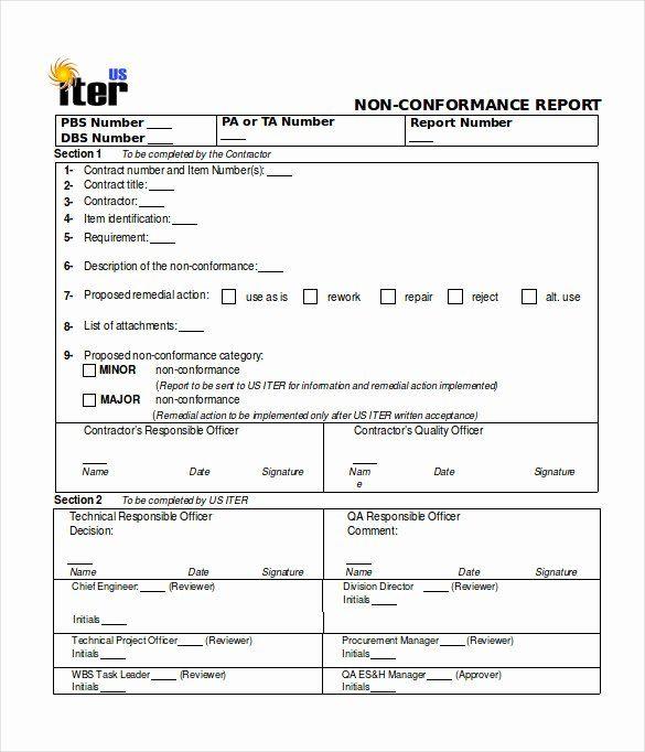 Non Conformance Report Template Fresh 16 Non Conformance Report Templates Pdf Doc Word In 2021 Report Template Templates Report
